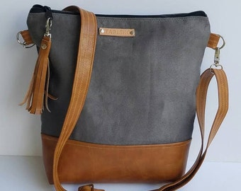 Gray Vegan Leather Crossbody Bag/Gray Vegan Suede Messenger Bag/Everyday Purse/Gray Cross Body Bag/Zippered Crossbody Purse/Boho Chic Purse
