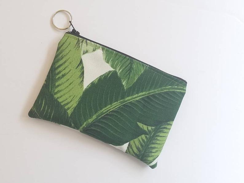 Palm Leaf  Coin BagBanana Leaf Coin PouchGreen Card HolderZippered Small Pouch