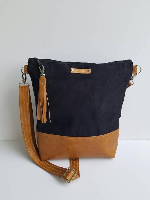 9f955d03344a Black Vegan Suede Crossbody Bag Faux Suede Purse Vegan Leather