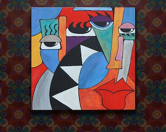 Replica Abstract Acrylic Painting on Stretched Canvas
