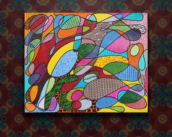 Original Zentangle Abstract Acrylic Painting on Stretched Canvas
