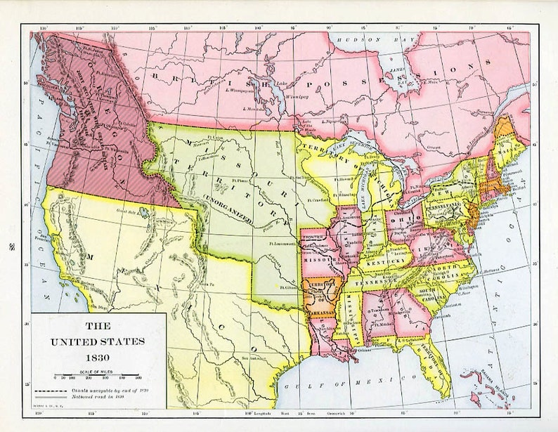 1830 Us Map.Print Map Of The United States 1830 Etsy