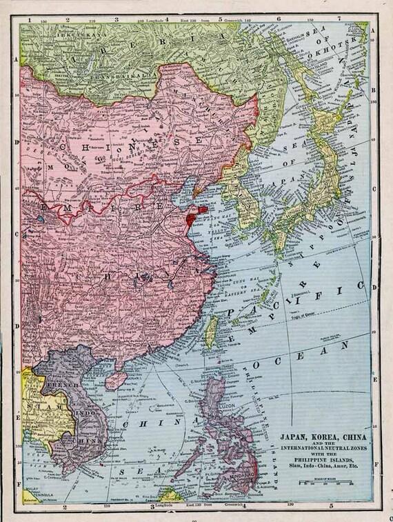 Print Map Of Japan Korea And China1912 Etsy