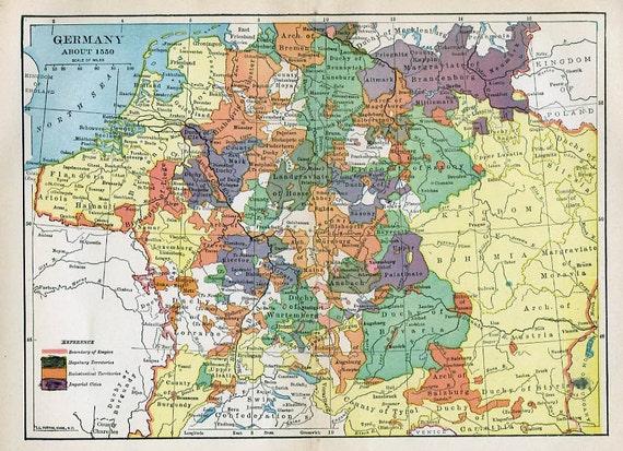 Drucken Der Karte Deutschland 1550 Etsy