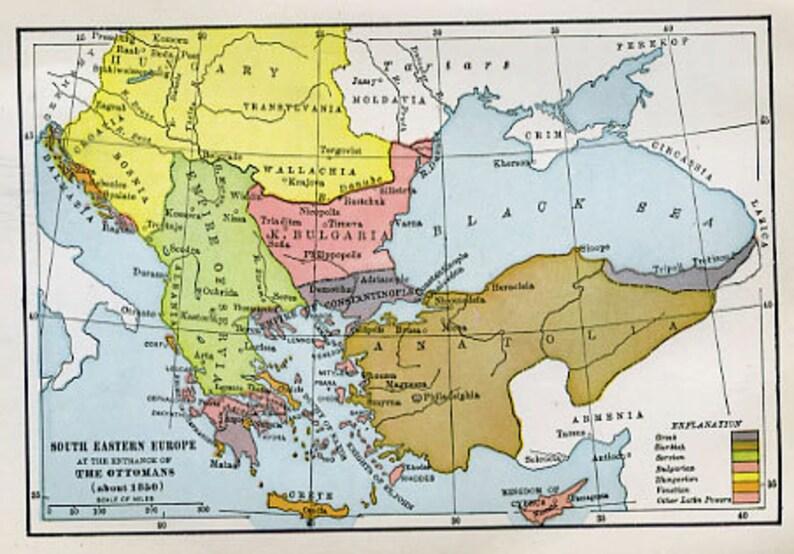 Carte Europe Du Sud Est.Impression De Carte Europe Du Sud Est A Etsy
