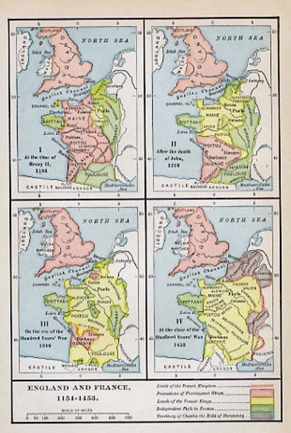 Map Of England France.Print Of Map England And France 1154 1453 Etsy