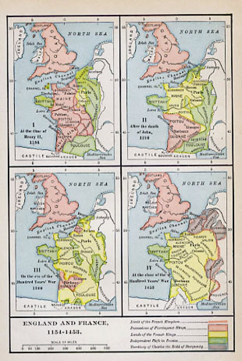 Map Of England To France.Print Of Map England And France 1154 1453