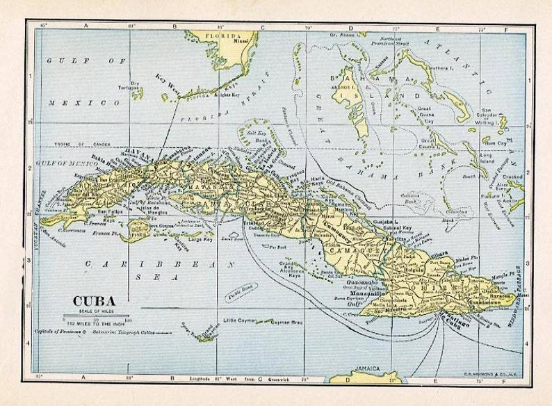 picture regarding Printable Map of Cuba named Print- Map of Cuba 1927