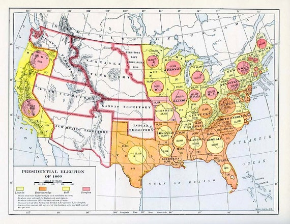 Print- Map of the US Presidential Election 1860 on united states map, 1840 political party map, 1920 election chart, 1920s america popularity map, treaty of versailles map, 1920 election results, mandate system map, 1920 electoral college map, 1920 election poster, 1920 election hat,