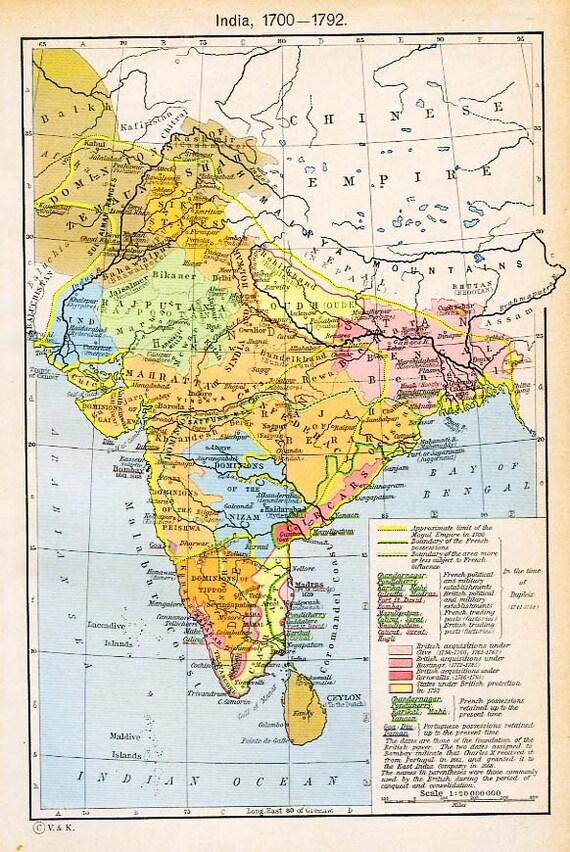 Cartina India.Print Of Map India 1700 1792 Etsy