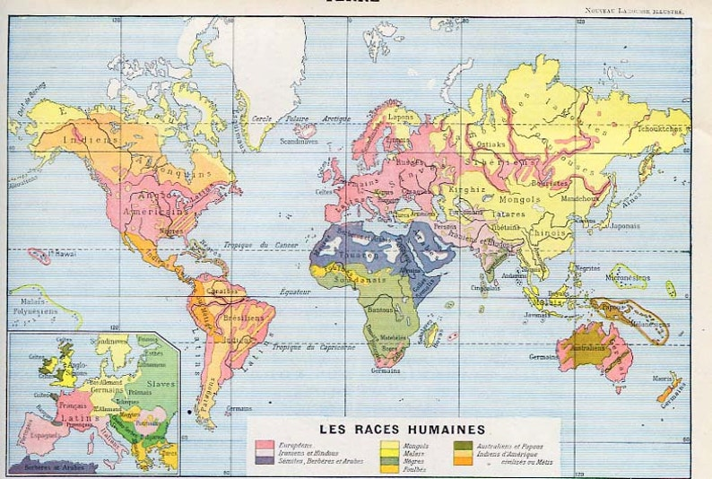 Races Of The World Map.Print French Map Race Distribution Of The World 1902 Etsy