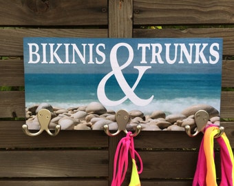 "Bikinis and Trunks bathing suit holder - ""Bikinis & Trunks"""