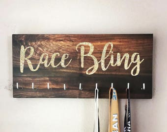 Race Medal Holder - RACE BLING - Wood/Gold Glitter