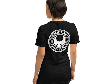 Music First, Safety Second - Short-Sleeve Unisex T-Shirt, black with white text