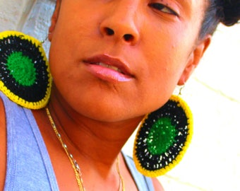Black, Green and Sunshine Yellow Handmade Crochet Earrings