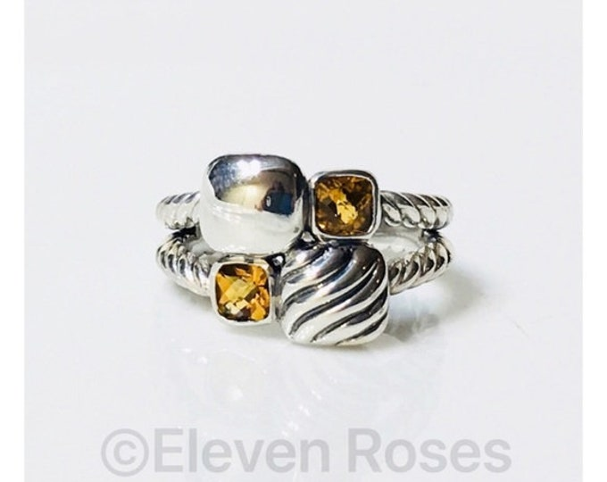 David Yurman Citrine Chiclet Mosaic Ring DY 925 Sterling Silver Free US Shipping