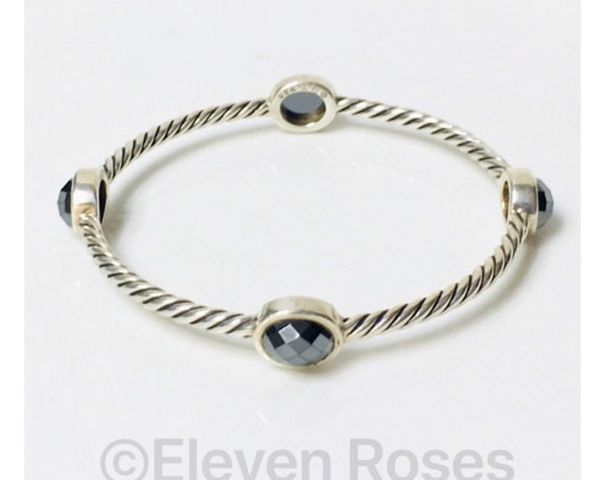 David Yurman Color Classics Four Station Cable Bangle Bracelet DY 925 Sterling Silver Free US Shipping