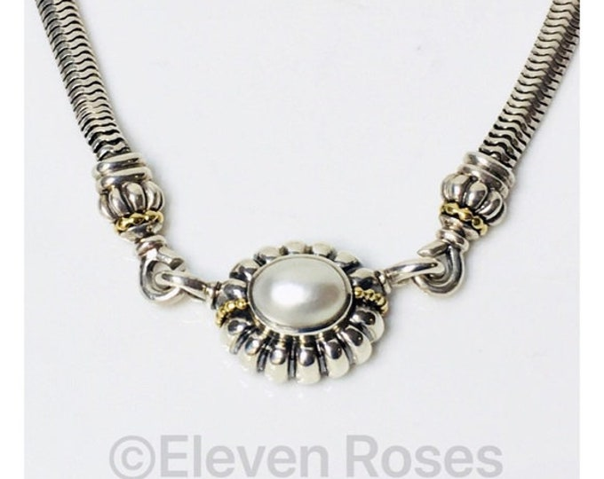 Lagos Caviar Pearl C Clasp Enhancer Pendant Snake Chain Necklace 925 Sterling Silver 750 18k Gold Free US Shipping