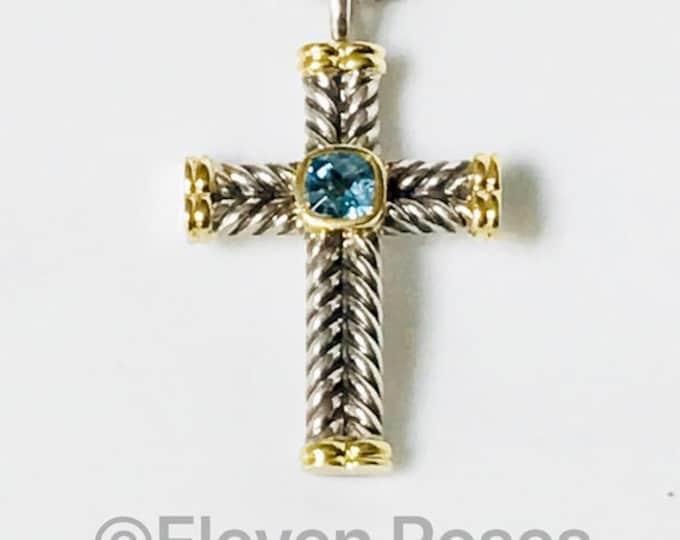 David Yurman Blue Topaz Chevron Cross Pendant Box Chain Necklace 925 Sterling Silver & 750 18k GoldFree US Shipping