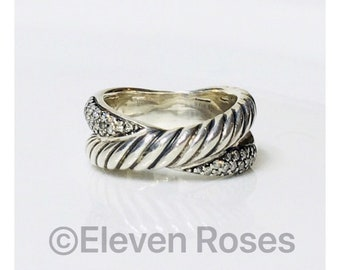 David Yurman Diamond Cable X Crossover Ring DY 925 Sterling Silver Free US Shipping