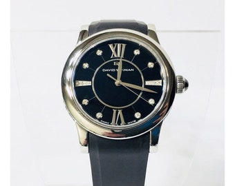 David Yurman Classic Diamond & Rubber Swiss Quartz Watch Free US Shipping