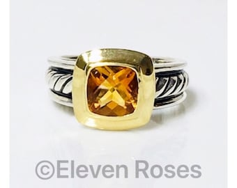Vintage David Yurman Classic Cable Citrine Ring 925 Sterling Silver & 750 18k Gold Free US Shipping