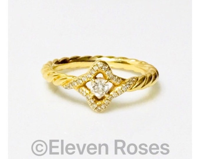 David Yurman Solid 750 18k Gold Diamond Venetian Quatrefoil Ring Free US Shipping