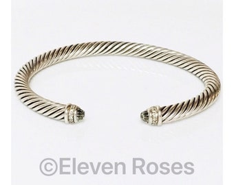 David Yurman Cable Classics Prasiolite & Diamond Cuff Bracelet DY 925 Sterling Silver Free US Shipping