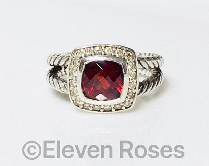 David Yurman Split Cable Garnet & Diamond Petite Albion Ring DY 925 Sterling Silver Free US Shipping