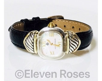 David Yurman Watch T-22606 925 Sterling Silver 585 14k Gold Free US Shipping