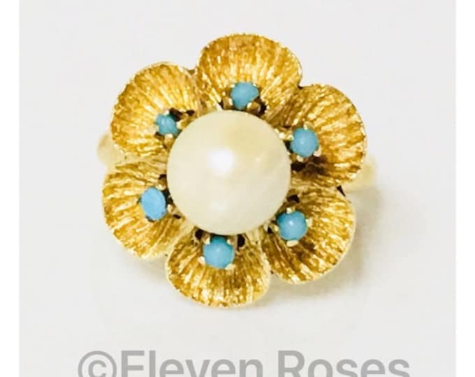 Vintage 750 18k Gold Turquoise & Pearl Large Flower Ring Free US Shipping