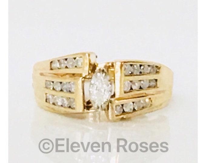 Custom 14k Gold Diamond Cocktail Ring Hinged Shank Adjustable Fit Free US Shipping