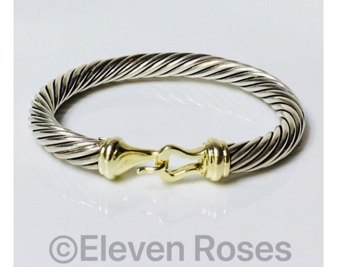 David Yurman 7mm Cable Buckle Hook Bangle Bracelet DY 925 Sterling Silver 585 14k Gold Free US Shipping