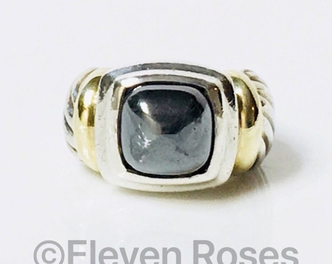 Vintage David Yurman Hematite Renaissance Ring DY 925 Sterling Silver & 585 14k Yellow Gold Classic Cable Ring Free US Shipping