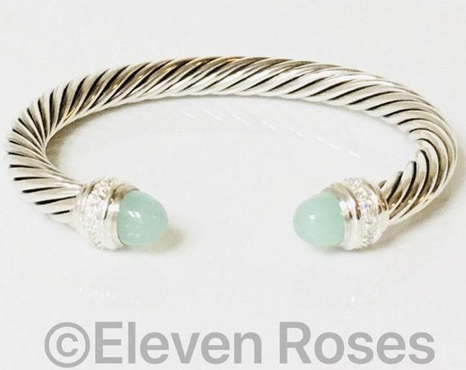 David Yurman 7mm Aqua Chalcedony & Diamonds Cable Cuff Bracelet 925 Sterling Silver Free US Shipping