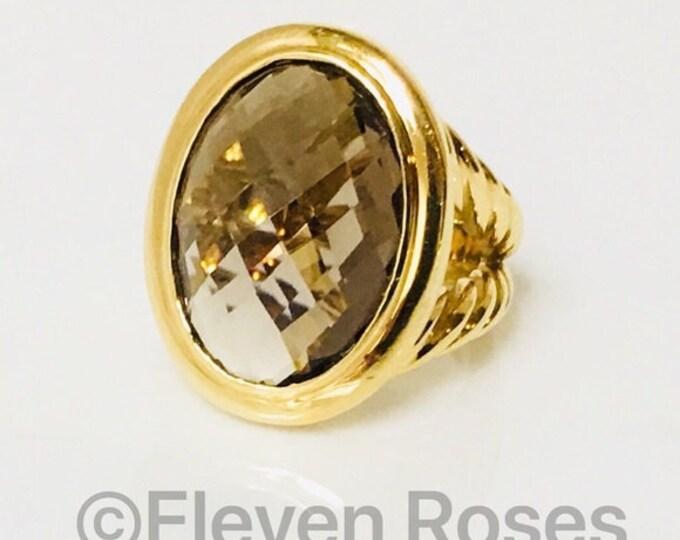 David Yurman Signature Smoky Quartz Oval Ring Solid 750 18k Gold Free US Shipping