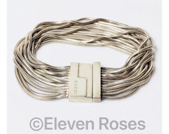 Vintage Gucci Multi Row Snake Chain Bracelet 925 Sterling Silver Free US Shipping