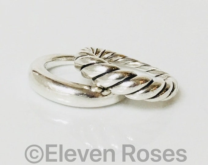 David Yurman Set Of 2 Pure Form Stack Rings 925 Sterling Silver Free US Shipping