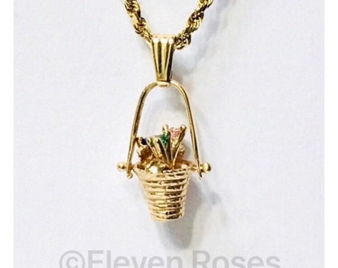 Vintage 14k Gold Gemstone Flower Basket Pendant Charm Free US Shipping