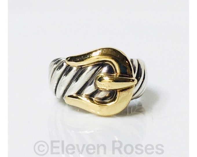 David Yurman Classic Cable Buckle Ring DY 925 Sterling Silver 750 18k Yellow Gold Free US Shipping