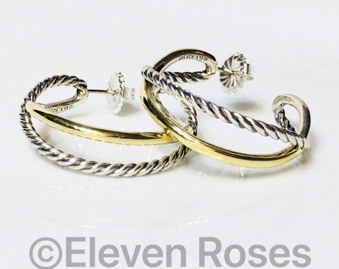 David Yurman Large Cable Crossover Hoop Earrings 585 14k Gold 925 Sterling Silver Free US Shipping