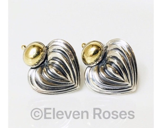 Lagos Caviar Extra Large XL Signature Heart Earrings 925 Sterling Silver 750 18k Gold Free US Shipping