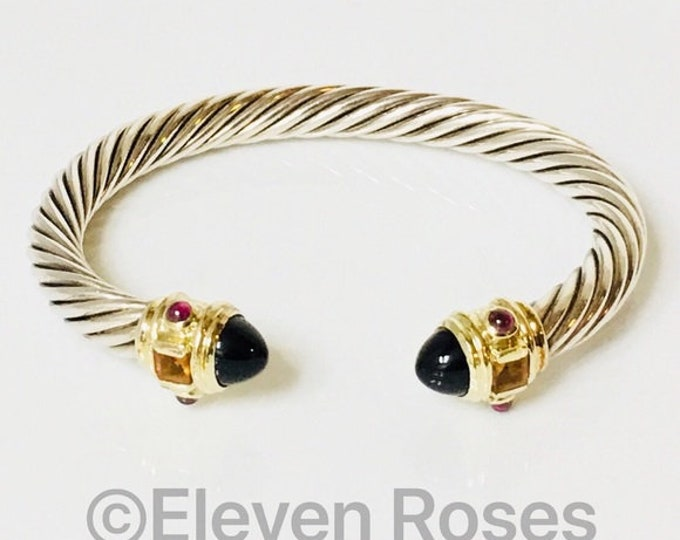 David Yurman 7mm Onyx Citrine Garnet Renaissance Cable Cuff Bracelet 925 Sterling Silver & 585 14k Gold Free US Shipping