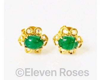 14k Gold Jadeite & Diamond Earrings Free US Shipping