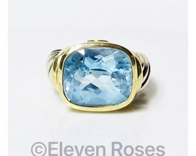David Yurman Large Blue Topaz Noblesse Statement Ring 925 Sterling Silver & 585 14k Gold Free US Shipping