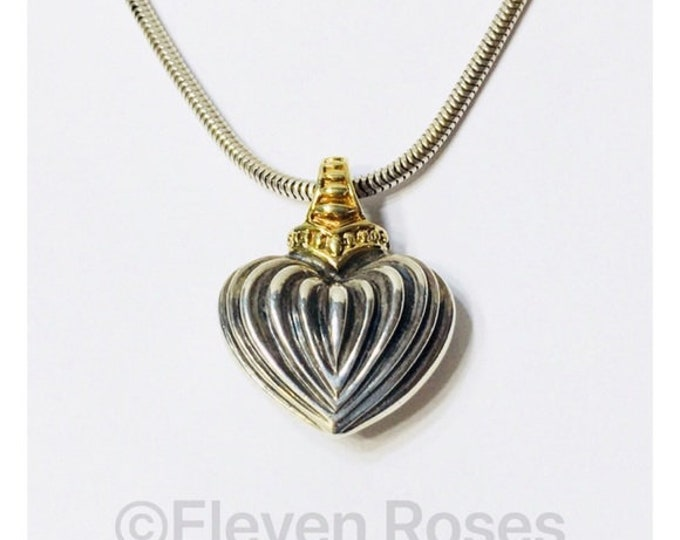 Vintage Lagos Caviar Signature Fluted Heart Pendant 925 Sterling Silver 750 18k Gold Free US Shipping