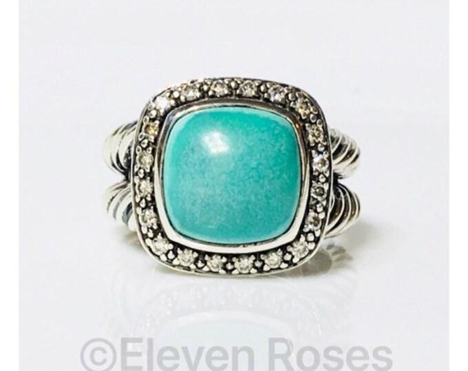 David Yurman Turquoise & Diamond Albion Ring 925 Sterling Silver Free US Shipping