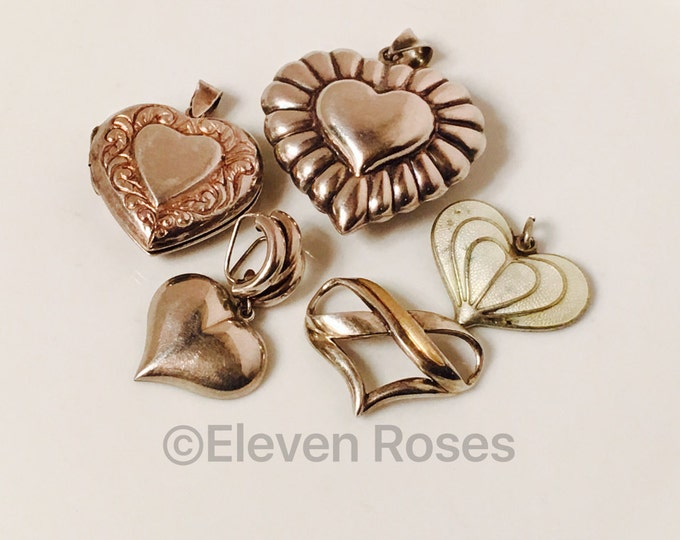Lot of 5 Assorted 925 Sterling Silver 10k Gold Pendants Pendant Slide Locket Charms Free US Shipping
