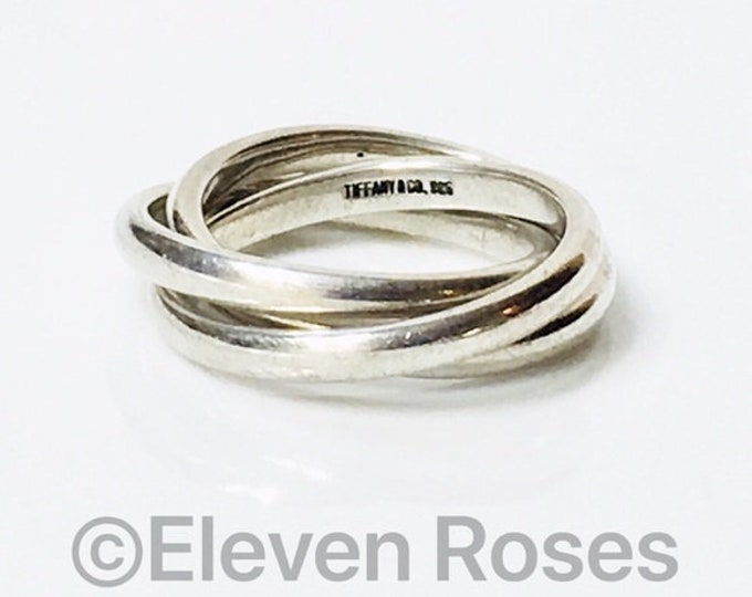 Tiffany & Co. Triple Rolling Interlocking Band Rings 925 Sterling Silver Free US Shipping