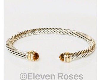 David Yurman Golden Citrine Classic Cable Cuff Bracelet 925 Sterling Silver & 585 14k Gold Free US Shipping